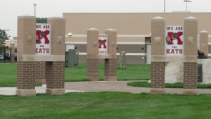 Kokomo High School has already removed the New Castle logo from the entrance to Walter Cross Field. A KHS logo stands in the place of the former NC logo.