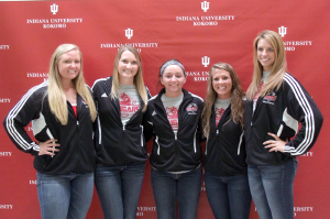 Senior Leann Cook, junior Shelby Spall, freshman Kaitlyn Emery, junior Lael Burrus and sophomore Megan Riley look to lead the Lady Cougar volleyball squad in 2013.