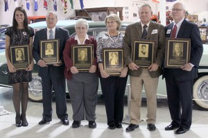The 2013 Class of the Howard County Sports Hall of Fame: Kylee Wells-Retrum, Dave Kitchell, Joanna Odom (for Carroll Odom), Victoria Wilson (for Tod Sloan), Ty Calloway and Art Hammond. (SJ Photo: William Gibson)