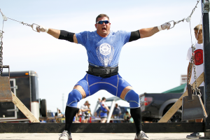 Strongman Chad Coy looks superior on the Hercules hold. (Photo by Michael Hickey)