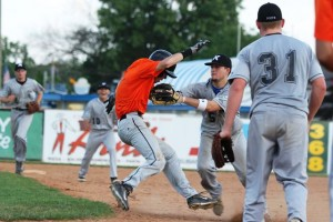 Evan Warden tags out a Bristol player for Post 6. (Photo by Emily Myers)