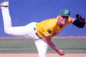 Nolan Sanburn pitching for the Stockton Ports. (Photo provided)