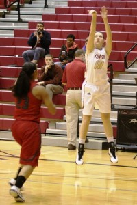 Western graduate Nicole Rogers set the IUPUI record for 3-pointers in a game at 11 against IU Kokomo. (Photo by Dean Hockney)