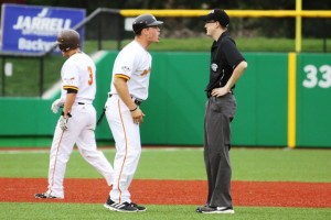 Greg Van Horn was terminated as manager of the Kokomo Jackrabbits. Here, he is shown arguing with an umpire earlier in the season.