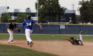 Quinlan Armstrong makes a nice play for Kokomo Post 6 at the Indiana American Legion baseball state finals.