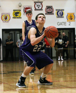 Northwestern senior Quinlan Armstrong shoots a free throw in the Kankakee Valley Regional. (SJ photo by William Gibson)