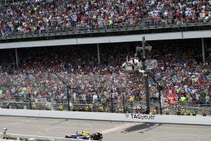 Alexander Rossi crosses the Yard of Bricks to win the 100th Indianapolis 500. (Photo by William Gibson)