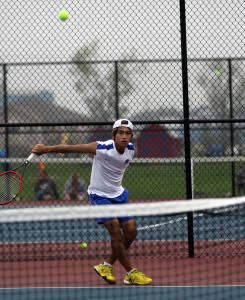 Taiga Tamura plays No. 1 singles for the No. 18-ranked Kokomo Wildkats. (SJ Photo/Dean Hockney)