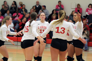 IU Kokomo celebrates a point earlier this season. (SJ photo/William Gibson)