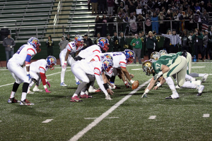 The Kokomo Wildkat offensive line in action against Westfield in the IHSAA Class 5A Elite Eight. (SJ photo/William Gibson)